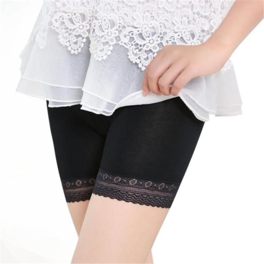 FEITONG Lace Tiered Under Safety Pants Women Sexy High waist Abdomen Pants Short Skirt Underwear Shorts Big Size Solid Pant 2018
