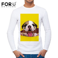 FORUDESIGNS Brand Clothing Men T Shirt Spring Autumn Crossfit Bodybuilding Tee Shirts For Male 3D Puppy