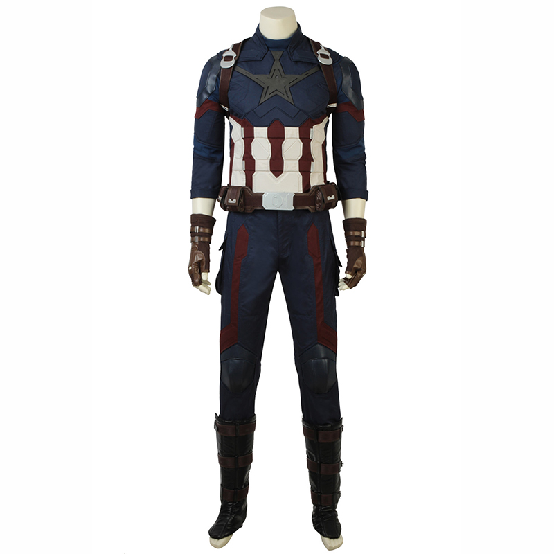 In Stock Captain America Steve Rogers Costume Avengers Infinity War Cosplay Jumpsuit Superhero Halloween Party Outfit