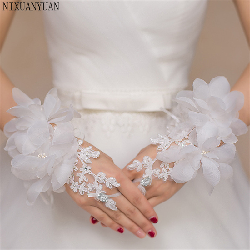 Short White Ivory Wedding Gloves Finger Wrist Length Flower Tulle Women Bride Gloves For Wedding 2019 Wedding Dress Accessories