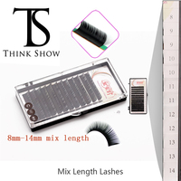 THINKSHOW 3D Russian 8mm 14mm Individual Natural Black Handmade Eyelash Extension Korea Eyelash Fake Lashes 12