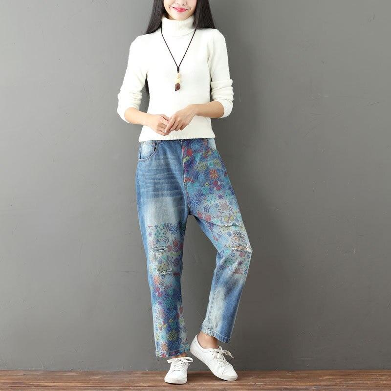 De Vintage Denim Pantalones Suelta Recto Impresión Floral Otoño Mujeres Casual Para Rotos Blanqueado Cremallera Las Mujer Ajuste Blue Vaqueros TBOSqWFqw