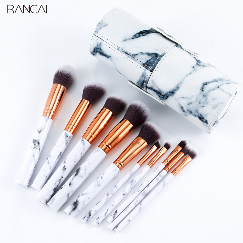 Professionelle 10 stücke Marmor Make-Up Pinsel Set Weiche Foundation Pulver Lidschatten Pinsel Schönheit Marmor Make-Up-Tools mit Zylinder