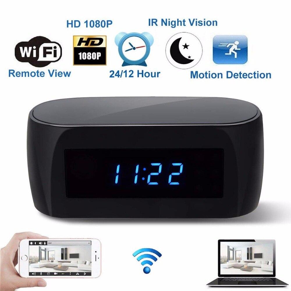 US EU UK Plug HD 1080P WiFi Camera Alarm Clock with Motion Detection IR Night Vision