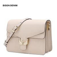 BISON DENIM Female Shoulder Bags Cow Leather Ladies bag For Women 2019 Luxury Crossbody Bag high quality Messenger Bag N1624