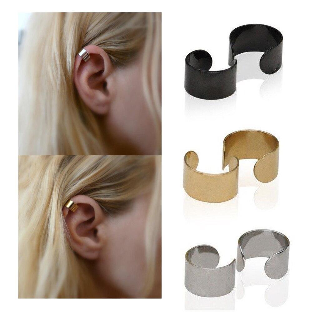 2 PCS/1 Pair Punk Rock Ear Earrings Fashion Women Clip Cuff Wrap No Piercing-Clip On Women's Fashion Jewelry Accessories