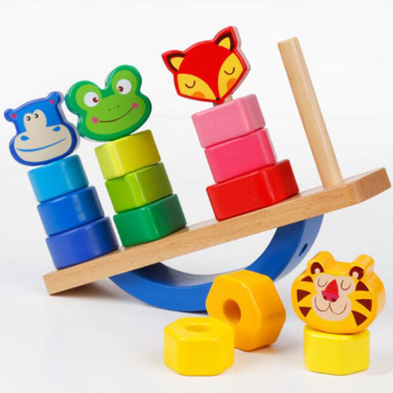 Wooden  Building Blocks Toy Domino Stacker Cartoon Animals DIY Disassembling Model Jenga Education Toy for Baby Kids Children mr froger carcharodon megalodon model giant tooth shark sphyrna aquatic creatures wild animals zoo modeling plastic sea lift toy