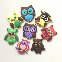 Free shipping 8pcs Cute Cartoon Owl Fridge Magnets Whiteboard Sticker Soft Silicon Gel Refrigerator Magnet Kids gift/home decor