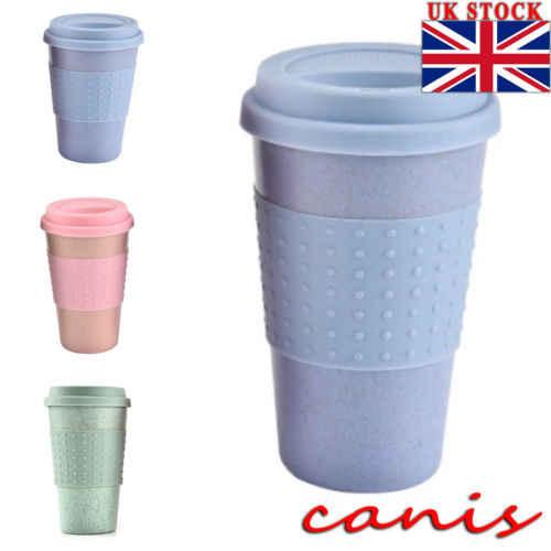 Takeaway Cup Pinkamp; Thermal Lid Insulated Mug Travel Blue Polka Coffee Green Dot Tea H9b2IEeDWY
