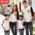 Juego de La Familia Ropa de Manga Larga Camisa de 2016 Del Otoño Del Resorte Juego Mirada Familia Padre Madre Hija Hijo Suéter A Rayas