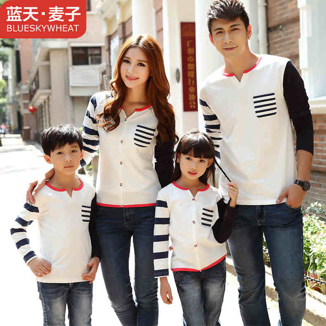 6db564a5c Matching Family Clothing Long Sleeve Shirt 2016 Spring Autumn Family Look Matching  Mother Daughter Father Son