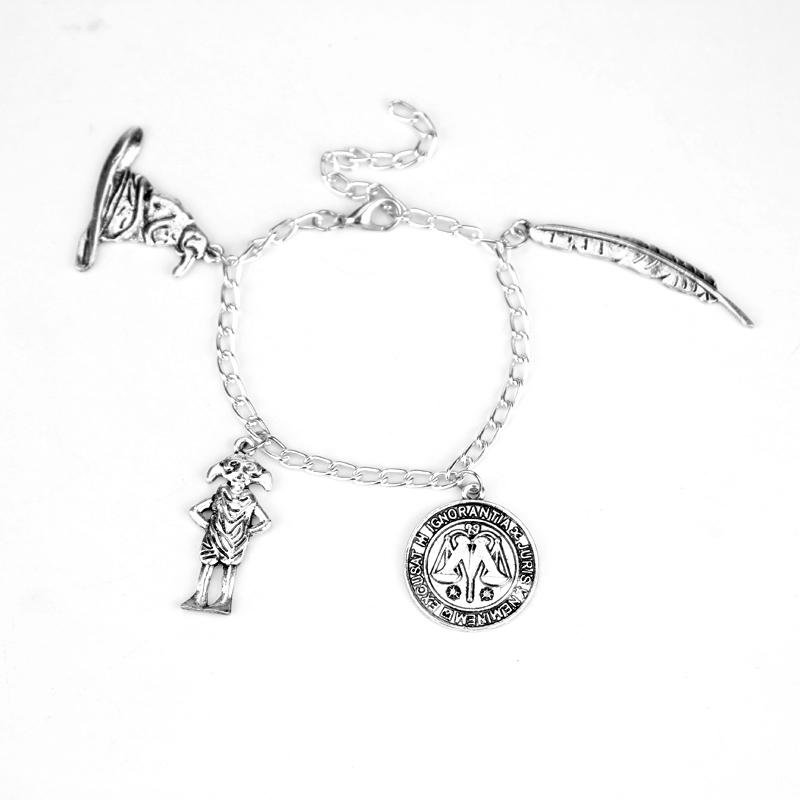Elf Dobby Magic Hat Quill Pens Etc Cool Logo Various Pendant Bracelet Gifts For Fans Movie Jewelry drop Shipping