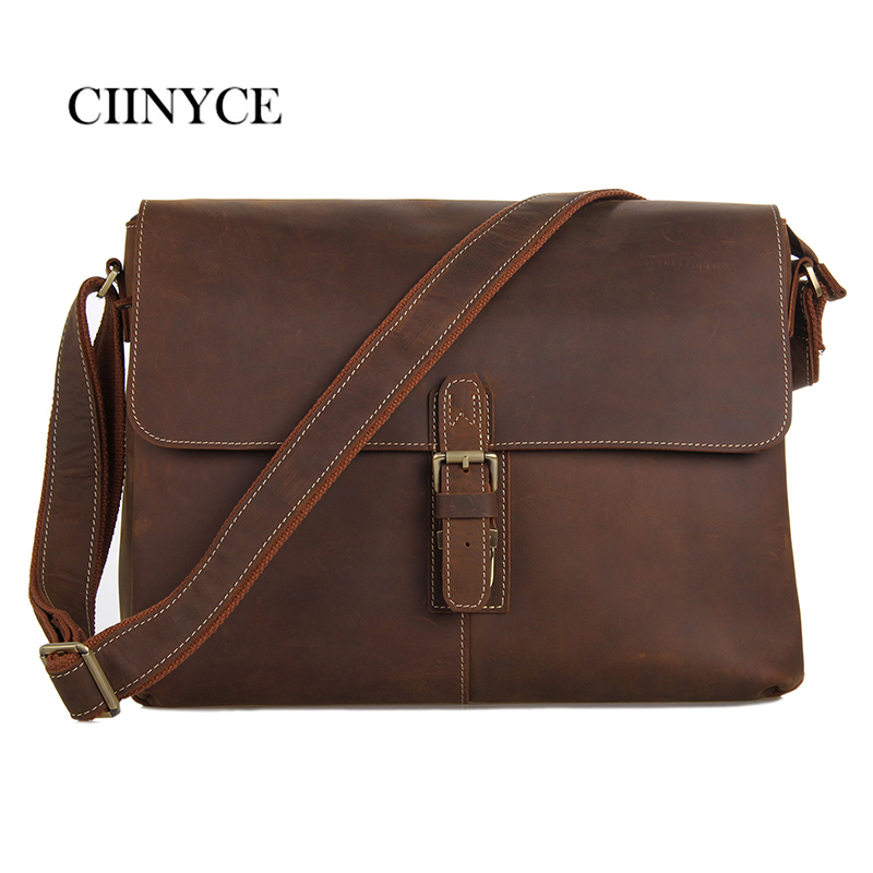 2018 Men'S Shoulder Messenger Bag Men Business Briefcase Bag Messenger Bags Vintage Genuine Crazy Horse Leather Cross Body Men
