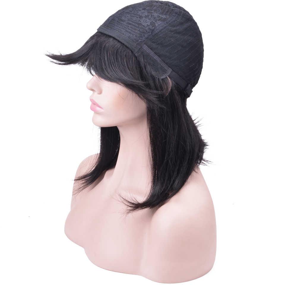 Перуанские прямые волосы парик с челкой короткие человеческие волосы боб парик натуральный цвет Remy человеческие волосы парики для черных женщин