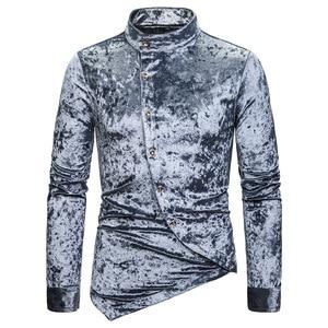 Image 4 - Modne koszule męskie sukienka nieregularna aksamitna koszulka z długim rękawem Homme męskie dorywczo jednokolorowe Slim Fit koszule na przyjęcia towarzyskie Streetwear