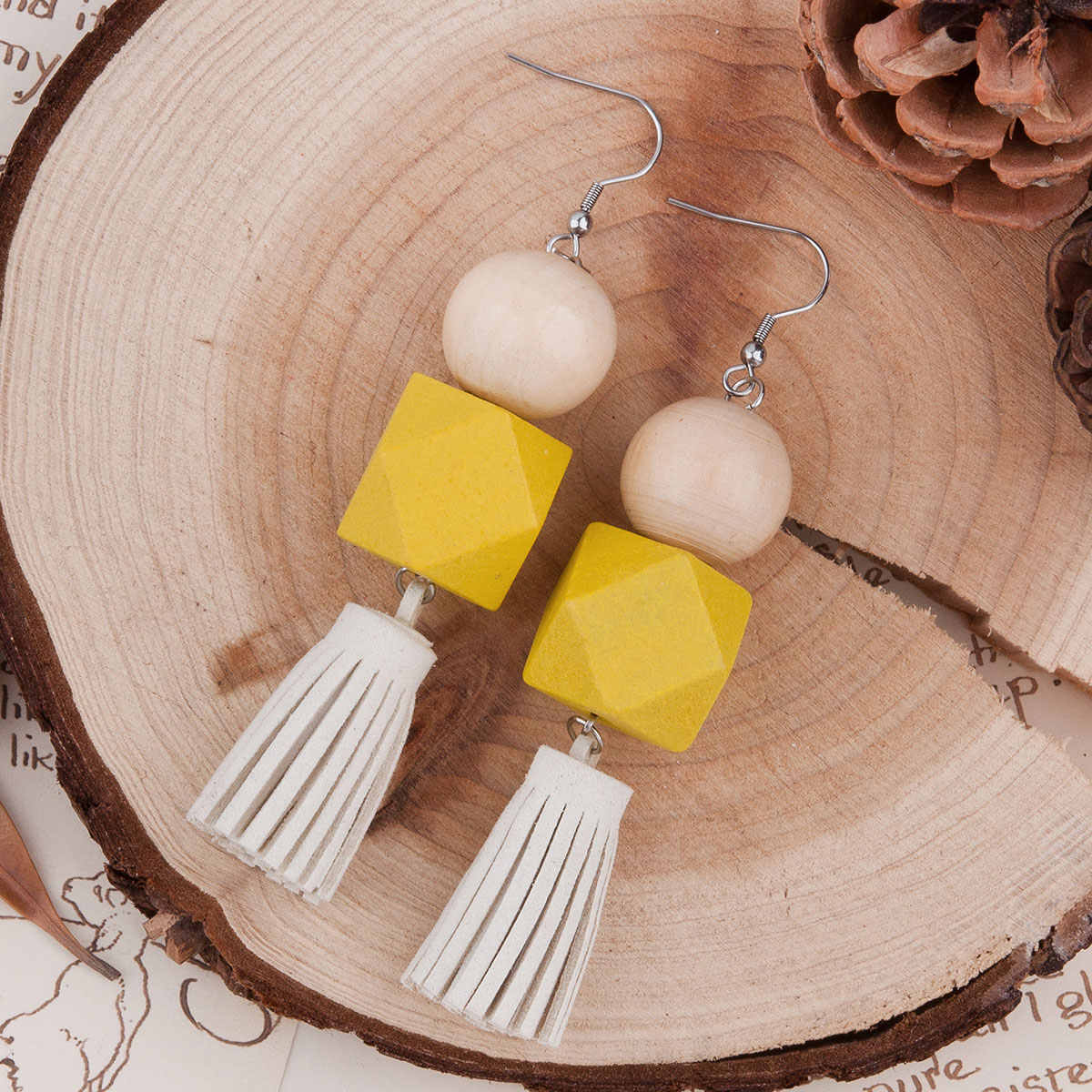 "Doreen Box Natural Wood & Faux Suede Velvet Tassel Earrings Yellow Square Round 99mm(3 7/8"")x 20mm,1 Pair 2017 new"