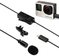 BOYA BY GM10 Lavalier Microphone Omini Directional Special Designed for GoPro HERO4,3+,3,DSLR Cameras w USB Adapter LR44 Battery
