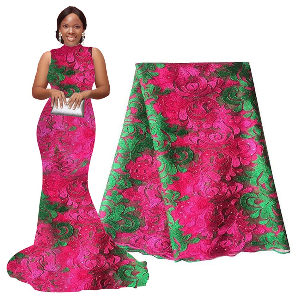 Latest high quality african tulle lace fabric pink green 2016 hand cut nigerian wedding