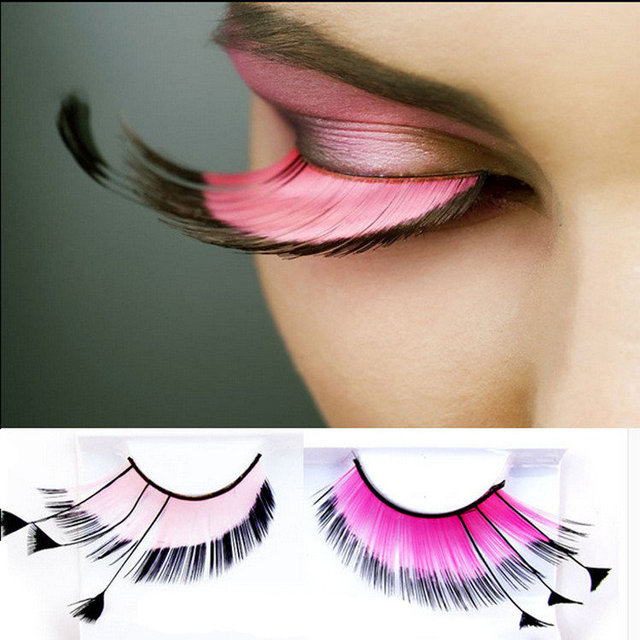 0d2b6f39a96 Happy 2018 Wearing Big Colorful Cheap Feather Eyelashes for Halloween  Costume False Eyelashes Makeup Eye Lashes Extension