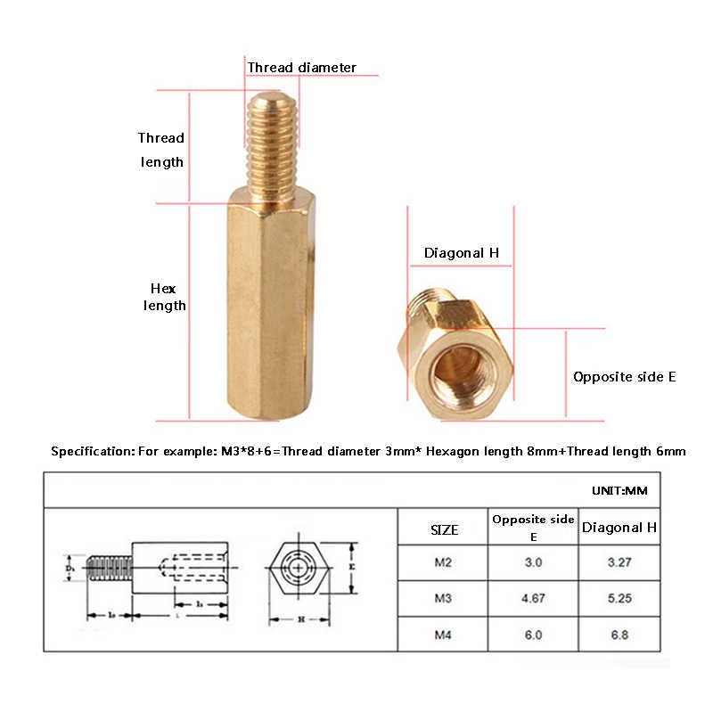 LUCHANG 30 шт. M3 * L + 6 мм Шестигранная головка латунная шнековая гайка медная вставка Резьбовая колонна PCB стойка для ПК материнская плата