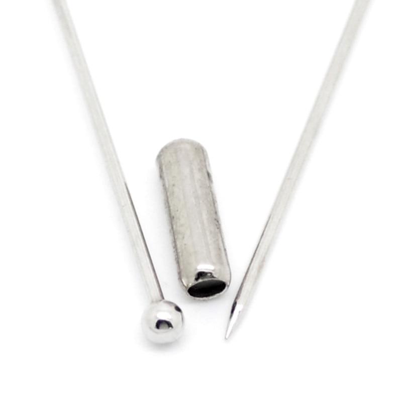 """300 sztuk srebrny Tone kula miedziana Pins broszki biżuteria rzemiosło dokonywanie ustalenia 6.6x0.4 cm (2 5/8"""" x1/8 """") w Wykończenia i elementy biżuterii od Biżuteria i akcesoria na  Grupa 2"""