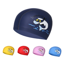 Cartoon Swimming cap Boys Girls PU Children Waterproof Swimming caps kids swim Pool hats Ear Protector colorful Baby Diving hat