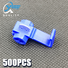 500PCS Blue Scotch Lock Electric Wire Cable Connector Quick Splice Terminal Crimp Nondestructive Without Breaking Line AWG 18-14 100pcs scotch lock quick splice crimp terminal connectors set red blue yellow awg 22 10