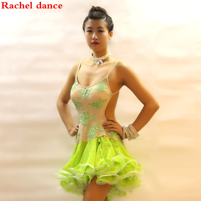 Ballroom Lady Latin Diamond Dance Dress Fringe Competition 2017 Dresses Skirt Woman Costumes Adult Sexy Salsa Paillettes