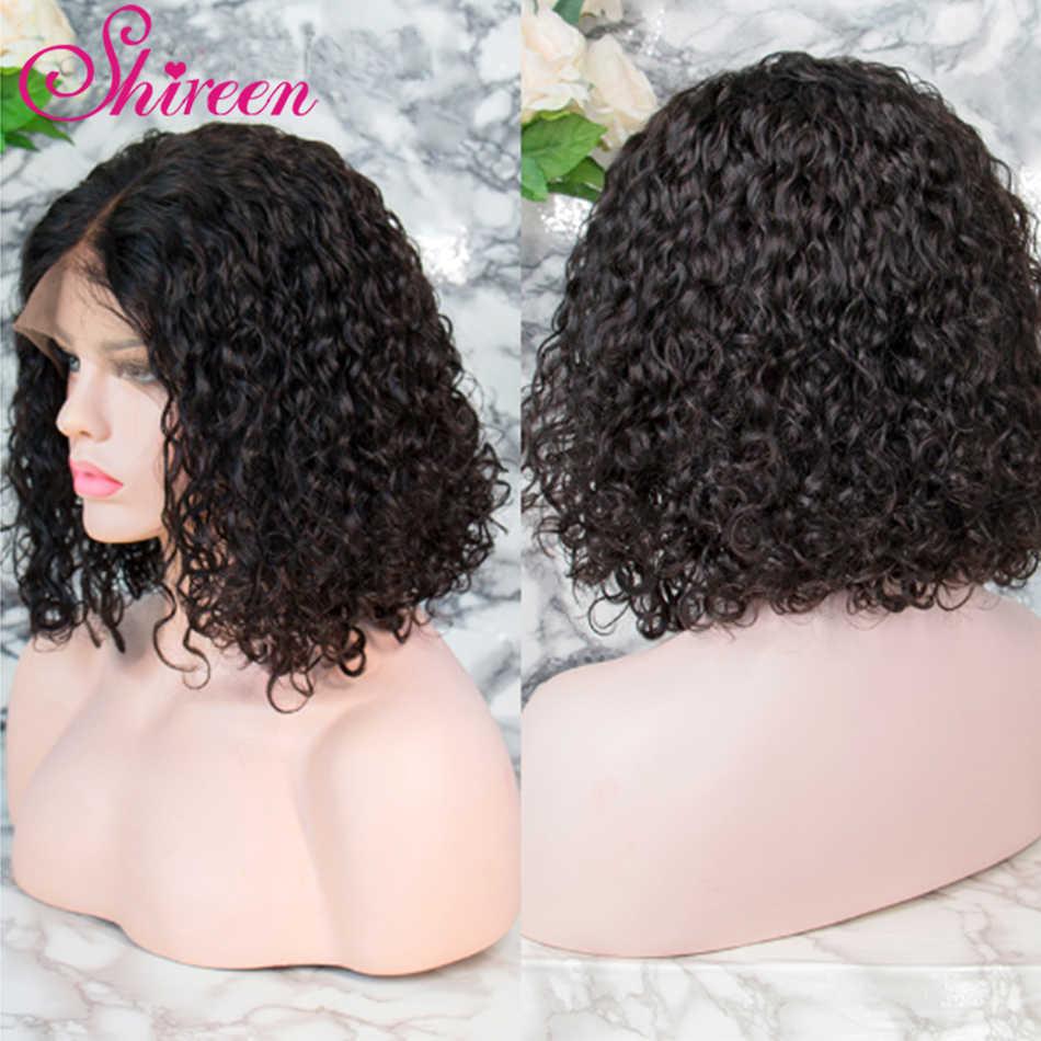 Peluca brasileña Jerry Curl de encaje rizado frente pelucas de cabello humano peluca Frontal de encaje corto Bob Pre desplumado con bebé Hr 8-14 pulgadas para mujer