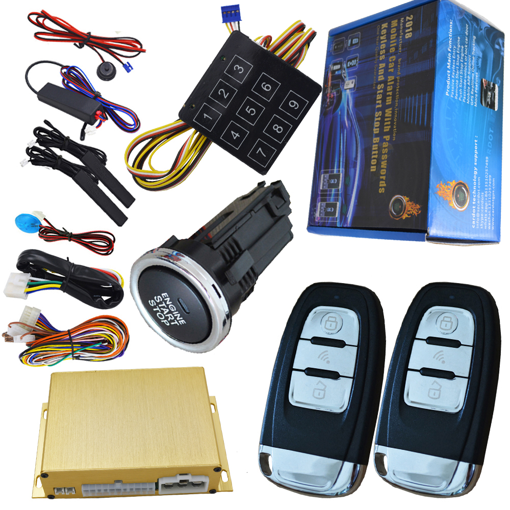 passive car alarm with auto central lock unlock car door automotive engine start stop system gps output push engine start stop все цены
