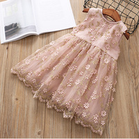 Hurave New Baby Girl Clothes Children Summer Flowers Sleeveless Dress Kids Clothes Lace Embroidery Solid Princess