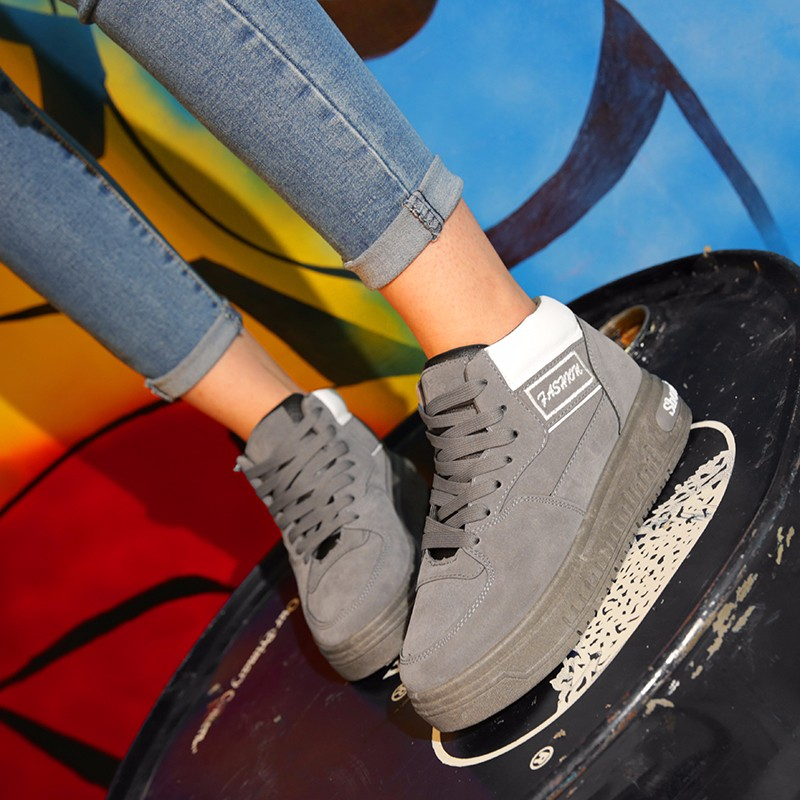 Casual Women Shoes Lace Up Breathable Platform High Top Casual Shoes KUYUPP 2016 Spring Autumn Fashion Lace Up Skate Shoes YD158 (38)
