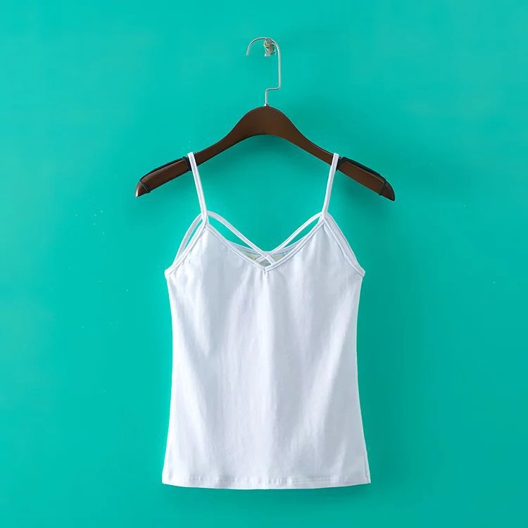 For women spicy sleeveless T-shirts tops on shoulder-straps with T-shirts single-color product female summer casual shirts