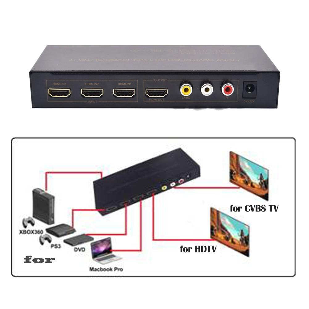 Adaptateur convertisseur répartiteur HDMI 1080 P 4X1 avec sortie CVBS L/R HDMI commutateur 4 entrées 1 sortie avec adaptateur d'alimentation US