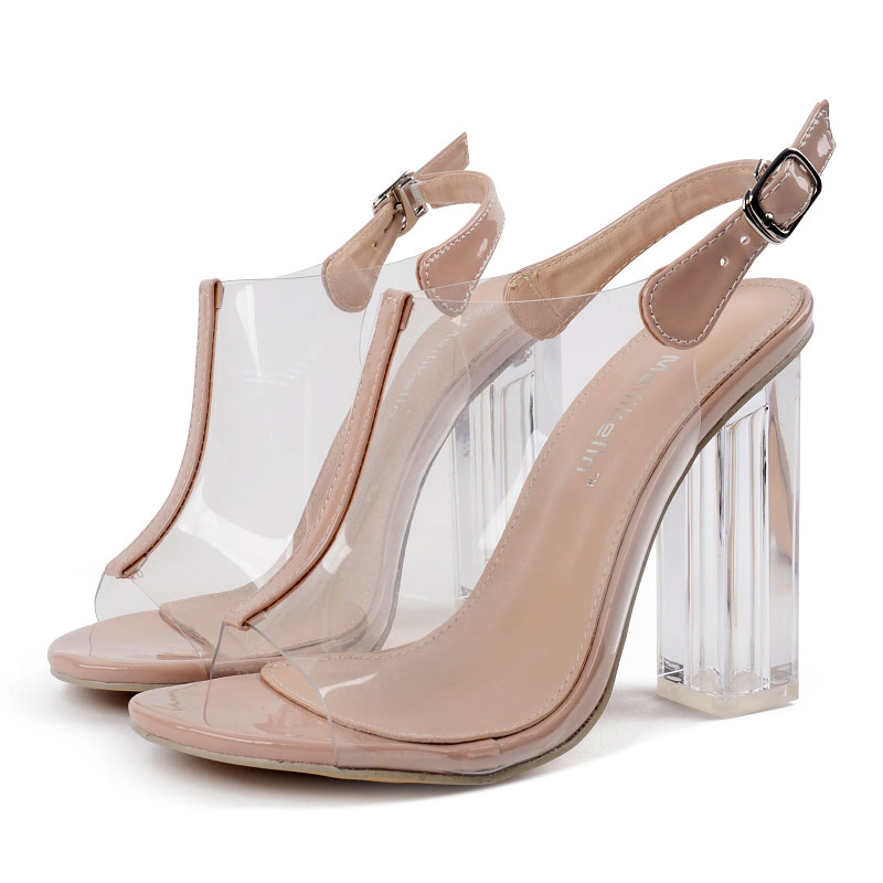 ФОТО 2017 Summer Sexy Girl Transparency Jelly Shoes Ankle Buckle Strap Crystal High Heels Ladies Peep Toe Sandals Woman Casual Shoes