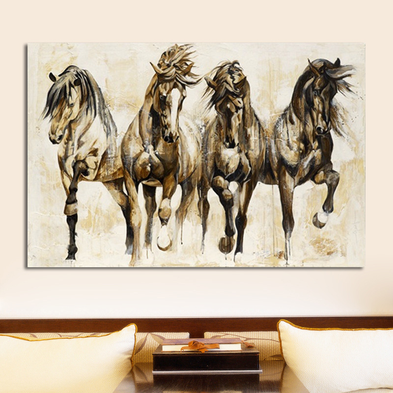 Retro Brown Horse Dance Canvas Art Animal Wall Art Poster Pictures For Living Room Home Decor Wall Canvas Print Painting