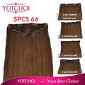 "Clip en el pelo de Yotchoi exentions 6 # light brown color de 8 ""-24"" clip en conjunto 5 unids/set 110 grams recta extensiones de cabello humano"