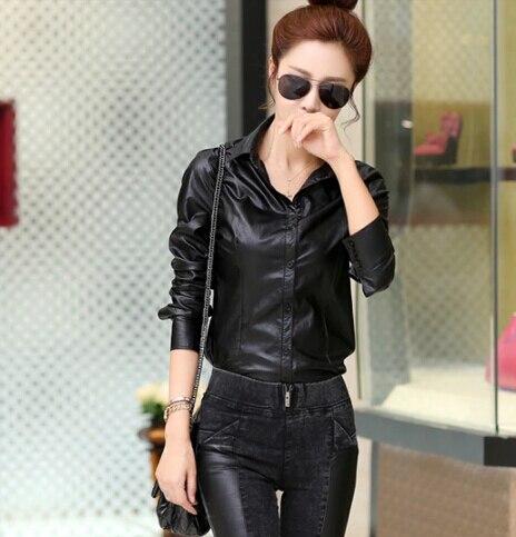 Women Blouses 2017 Spring New Temperament Slim Thin Long sleeved Women Shirts PU Leather Shirt Big Size Women Tops DM2365