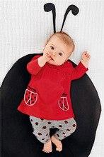 2 unid Primavera Otoño Rojo Bordado de Algodón de Manga Larga Pantalones de Juego de Los Niños de la Mariquita Disfraz Para Niños Vestido Infantil T(China (Mainland))