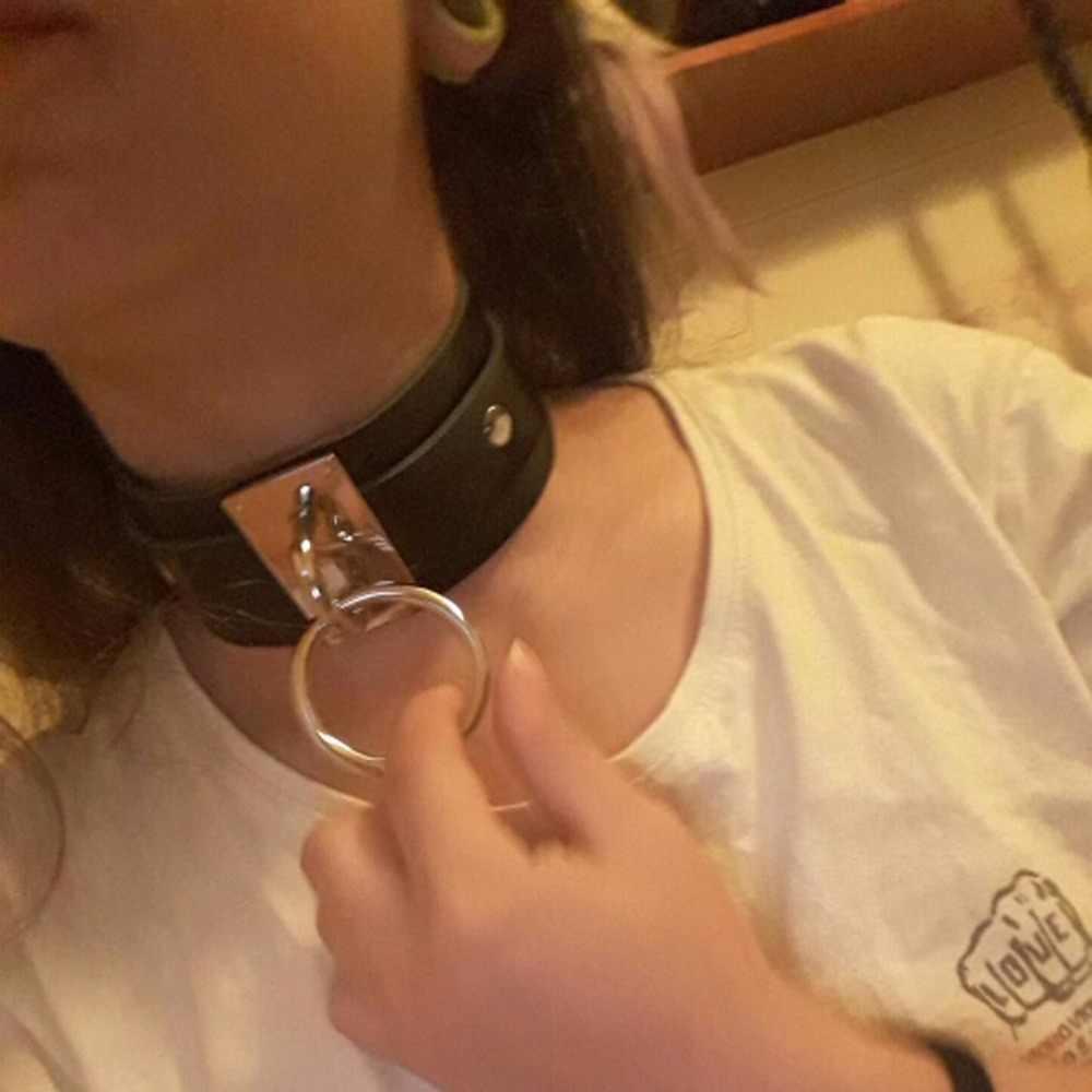 KMVEXO 2019 nowych moda Sexy Harajuku Handmade Choker Punk skórzana obroża naszyjnik srebrny Metal o-round momenty Party biżuteria