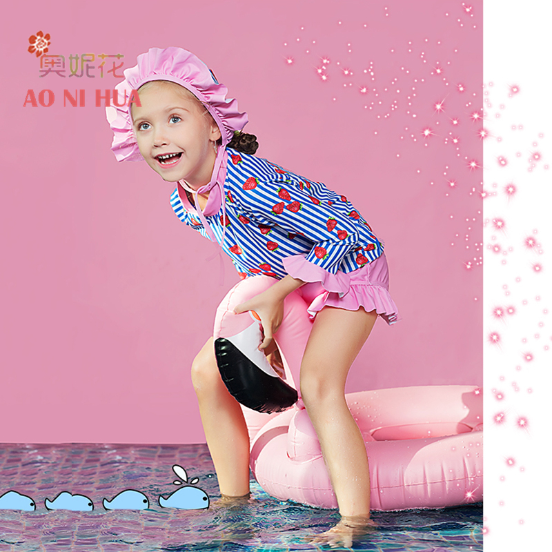 AONIHUA 3pcs Sweet Ruffles Strawberry Two piece Swimsuit Girls 2017 Designer Brand Print Children baby Kids Long sleeve swimwear in Children 39 s Two Piece Suits from Sports amp Entertainment