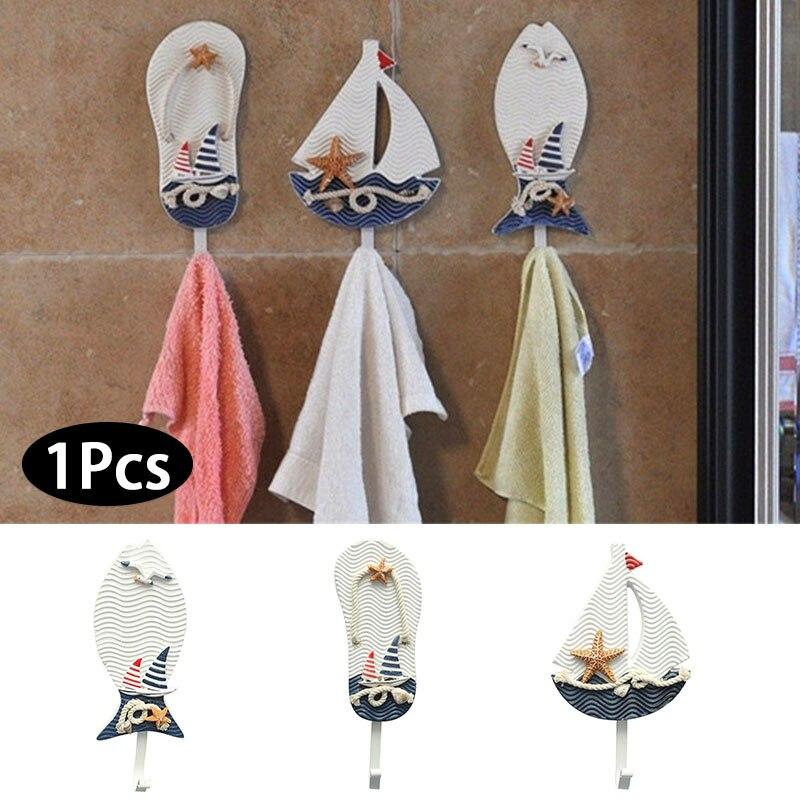 Вешалка для тапочек в форме лодки, украшение в виде рыбы, одежда для ванной, подвесное украшение для окна, гостиной, настенный крючок, средиземноморский