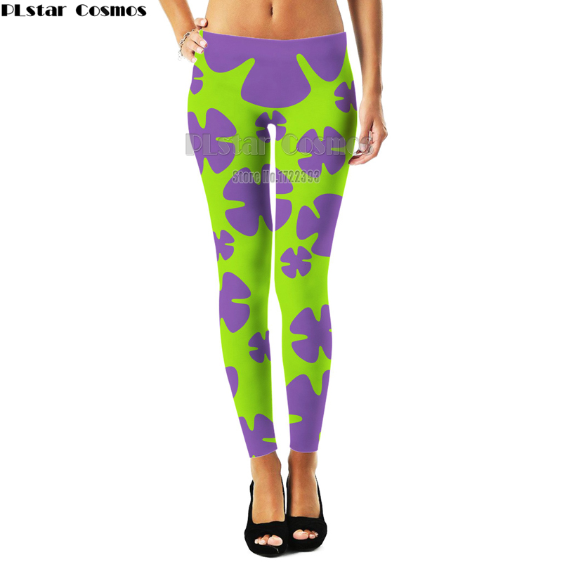 Harajuku Style Patrick Star Women 3d Weeds Leaf Sunflower Leggings Womens Plus Size Workout Leggings Slim Pants Fitness Legging