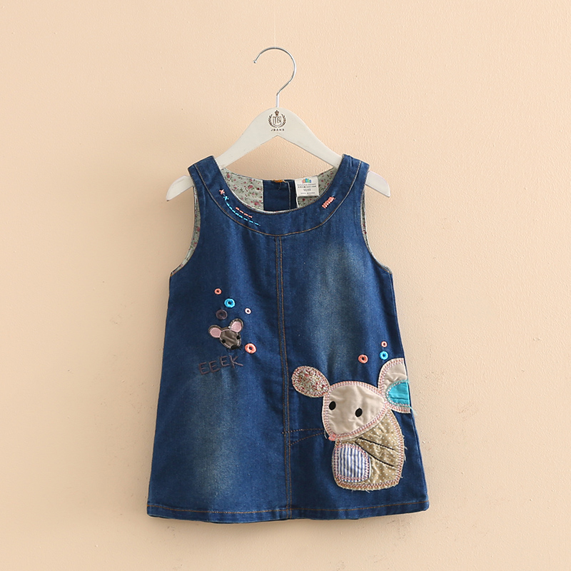 Fall Girls Denim Vest Dress Cute Cartoon Mouse Embroidery Patterns Kids Clothes New Clothing Style Children's Clothing 1-5 yrs embroidery basis book 500 kinds of three dimensional embroidery patterns