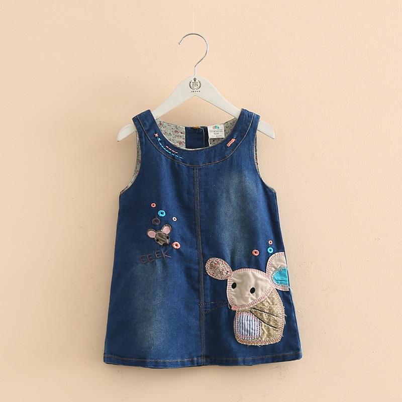 Աշնանային աղջիկներ ջինսե վեստ զգեստ Զգեստ մուլտֆիլմ մկնիկ Ասեղնագործության նախշերով Մանկական հագուստ Նոր հագուստի ոճ Մանկական հագուստ 1-5 տարեկան