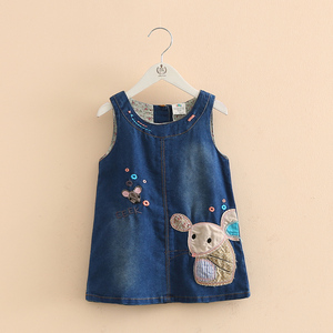 Jesień dziewczyny kamizelka dżinsowa sukienka Cute Cartoon myszy wzory haftu ubrania dla dzieci nowy odzież styl ubrania dla dzieci 1-5 lat