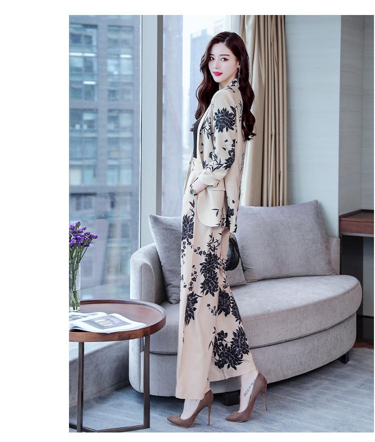 YASUGUOJI New 2019 Spring Fashion Floral Print Pants Suits Elegant Woman Wide-leg Trouser Suits Set 2 Pieces Pantsuit Women 20