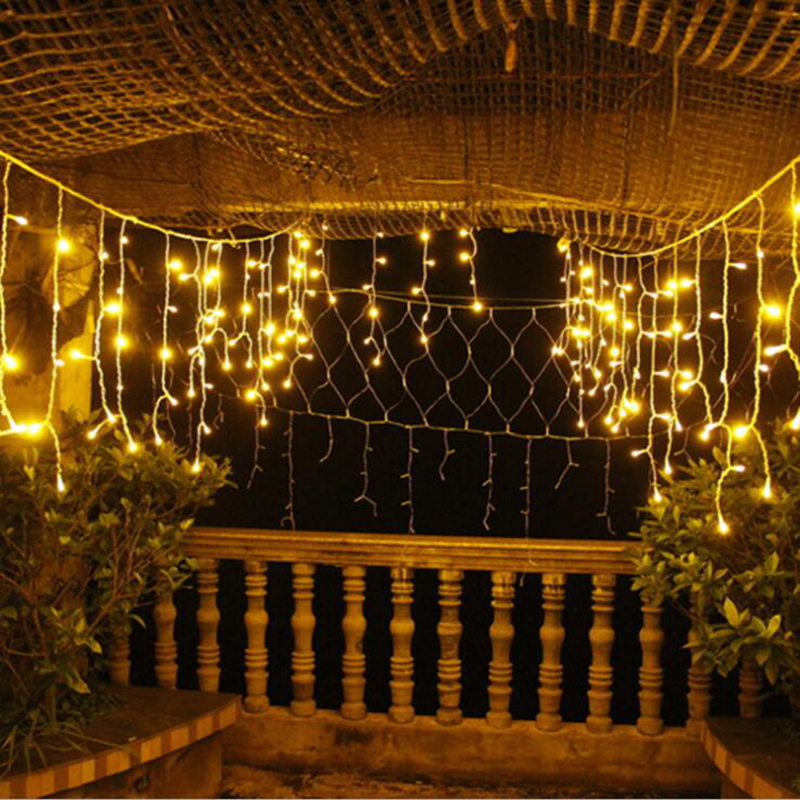 New 4 5m drop 0 4m led curtain icicle string lights 220v - Indoor string light decoration ideas ...