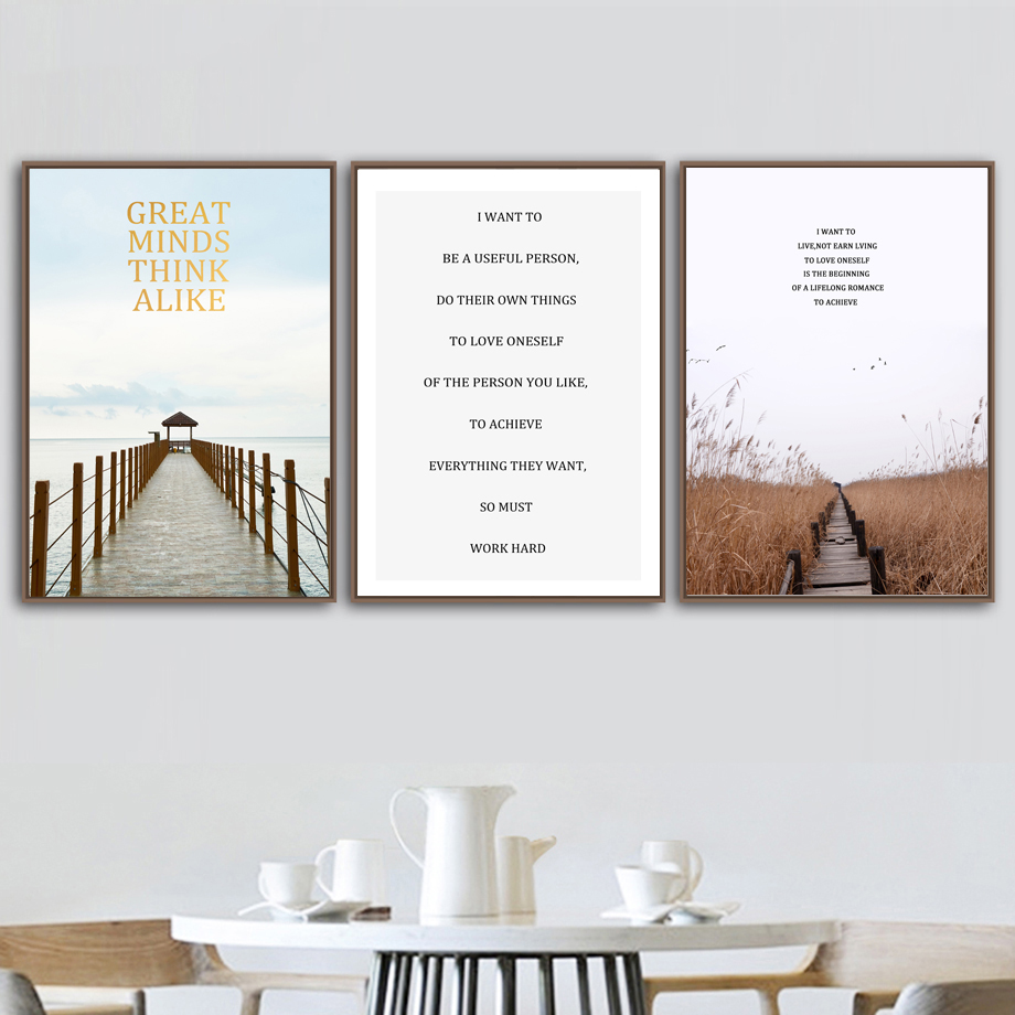 Art Nordic Style Painting Modern Minimalism Letters Posters Wood Bridge Field Sea Landscape Canvas Pictures Decor Wall A4 Prints