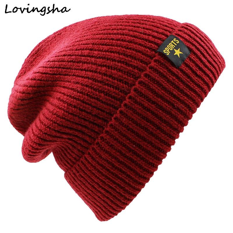 LOVINGSHA Faux Fur Knitted Hat Men Beani